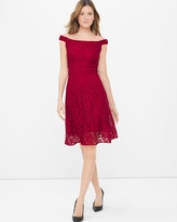 White House Black Market Off-The-Shoulder Lace Fit-and-Flare Dress