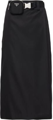 Prada Logo-Pouch Belted Skirt