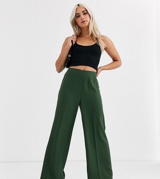 Asos DESIGN Petite wide leg trousers with clean high waist-Green