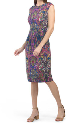 Paisley Print Midi Sheath Dress