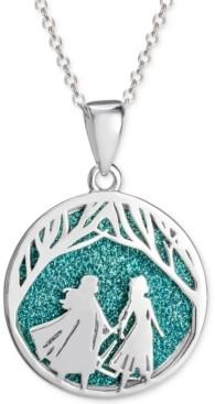 "Disney Children's Frozen Glitter Pendant Necklace in Sterling Silver, 16"" + 2"" Extender"