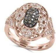 Effy Cognac & White Diamond and 14K Rose Gold Ring