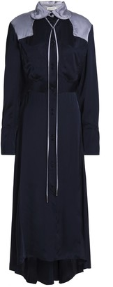 Nina Ricci Fluted Two-tone Satin Midi Shirtdress