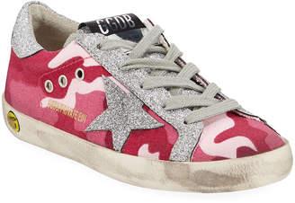 Golden Goose Girls' Superstar Glittered Camo Low-Top Sneakers, Toddler/Kids