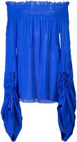 Saint Laurent oversized sleeves smocked top