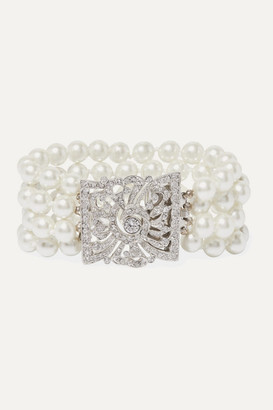 Kenneth Jay Lane Silver-tone, Faux Pearl And Crystal Bracelet