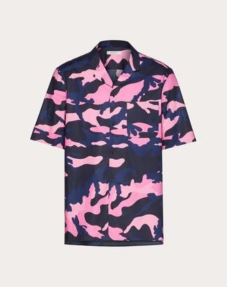 Valentino Camouflage Shirt Man Navy Camo/pink Cotton 100% 44