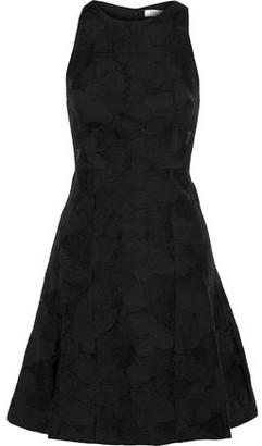 Halston Embroidered Crinkled-organza Mini Dress