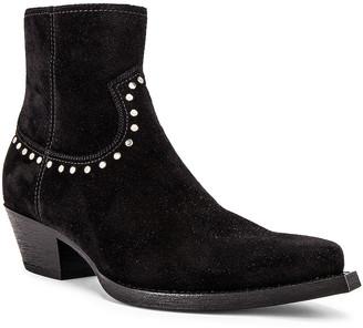 Saint Laurent Lukas 40 Studs Zip Boots in Black | FWRD