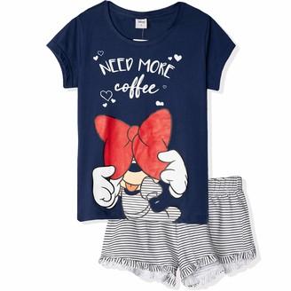 Disney Licensed Original Sleepwear. Women's Ladies Sleeping Short Sleeve Shorts and T-Shirt Pyjamas Set. Minnie Mouse Need More Coffee Navy L