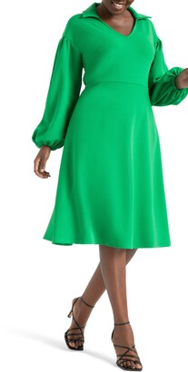 ELOQUII Drop Shoulder Fit & Flare Midi Dress