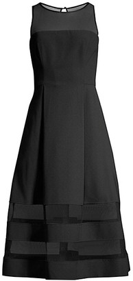 Aidan Mattox Mesh Detail Fit & Flare Dress