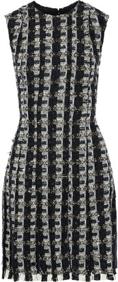 Oscar de la Renta Sequin-embellished Chiffon And Tweed Dress