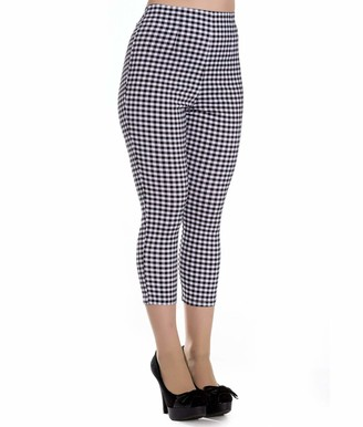 Hell Bunny 50s Judy Gingham Capris Cropped Trousers - UK 14 (L) / Black