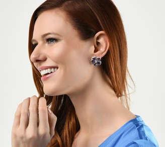 Judith Ripka Sterling Silver Couture Multi- Gemstone Floral Earrings