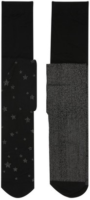 M&Co Lurex glitter tights two pack