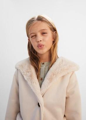 MANGO Faux-shearling suedette coat