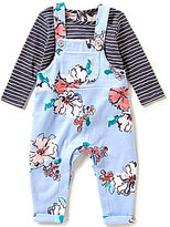 Joules Baby Girls Newborn-12 Months Striped Top and Floral Overalls Set