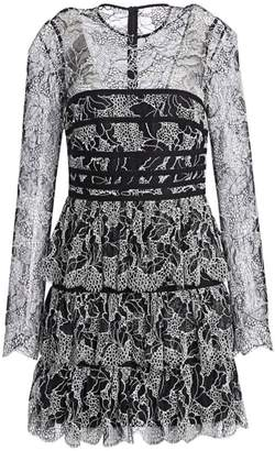 Halston Strapping Detail Lace Dress