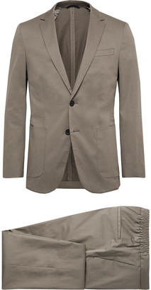 HUGO BOSS Taupe Nolin/ Brider Slim-Fit Cotton-Blend Sateen Suit