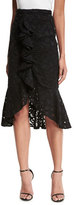 Alexis Marcello Ruffle-Front Lace Midi Skirt, Black