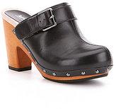Jambu Serfina Wood Leather Studded Buckle Block Heel Slip-On Clogs