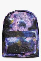 Boohoo Nadia Galaxy Print Backpack