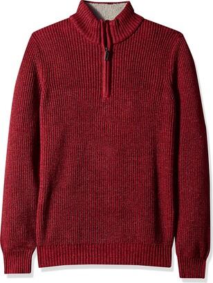 Izod Men's Shaker Quarter Zip 7 Gauge Ribbed Sweater