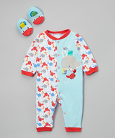 Taggies Blue & Red Crab Playsuit & Booties - Infant