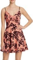 Aqua Flocked Rose Pattern Dress