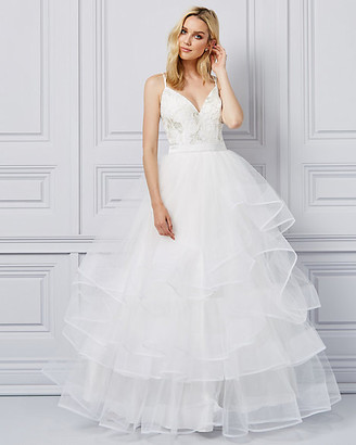 Le Château Embroidered Tulle Deep-V Ball Gown
