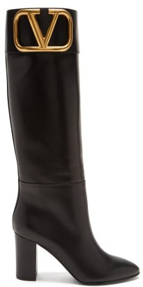 Valentino Supervee Logo-plaque Knee-high Leather Boots - Black