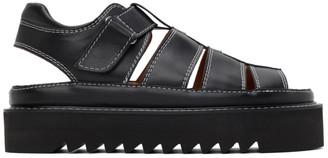 Ami Alexandre Mattiussi Black Leather Strap Sandals