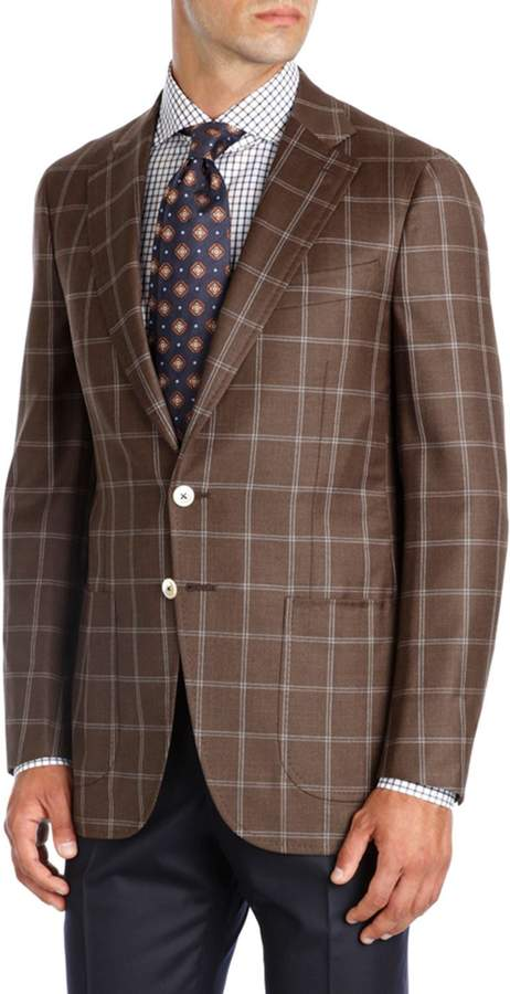 Isaia Windowpane Wool Two-Button Sport Coat