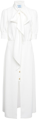 Prada Pussy-Bow Satin Midi Dress