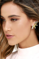 LuLu*s Spun-shine Gold and Yellow Rhinestone Ear Cuffs