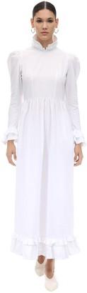 Batsheva Long Ruffled Cotton Poplin Dress