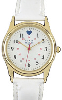 Nurse Mates Women's Military Style Heart Watch-White/Gold