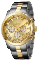 JBW Men's JB-6218-C Delano Japanese Movement Stainless Steel Real Diamond Watch - Two tone