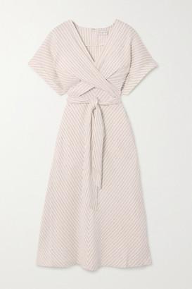 Rebecca Vallance Bellini Belted Striped Linen-blend Midi Dress