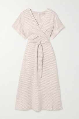 Rebecca Vallance Bellini Belted Striped Linen-blend Midi Dress - Ivory