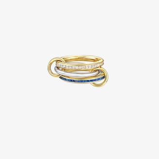 Spinelli Kilcollin 18K yellow gold Mozi blue sapphire and diamond linked rings