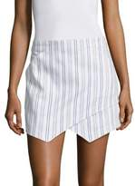 BCBGMAXAZRIA Asymmetrical Striped Mini Skirt