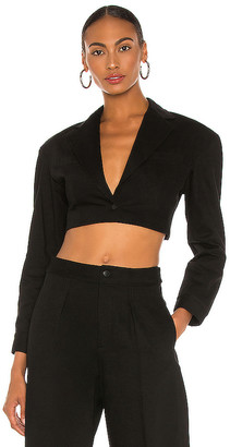 Alexander Wang Black Denim Cropped Blazer. - size 0 (also