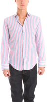 Simon Spurr Cricket Barrel Shirt in Salmon Stripe