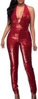 VamJump Women Sexy Deep V Neck Sequin Bodycon Clubwear Jumpsuits Romper Red