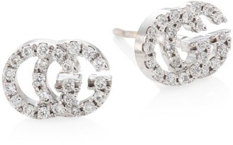 Gucci 18K White Gold & Diamond Double G Studs