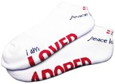 Peace Love World I am Loved Adored White Unisex Ped Socks