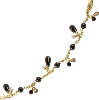 Jacques Lemans Jewellery S-A22B Ladies' Bracelet Stainless Steel Gold-Plated Pearls Black and White Swarovski Crystals Black and Brown 19 cm