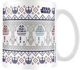 """Star Wars MG23586 8 x 11.5 x 9.5 cm """"R2D2 Xmas"""" Ceramic Mug, Multi-Colour"""